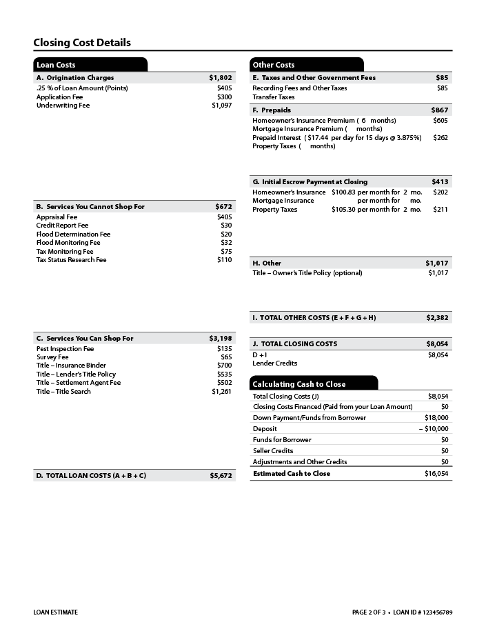 Sample Loan Estimate Page 2